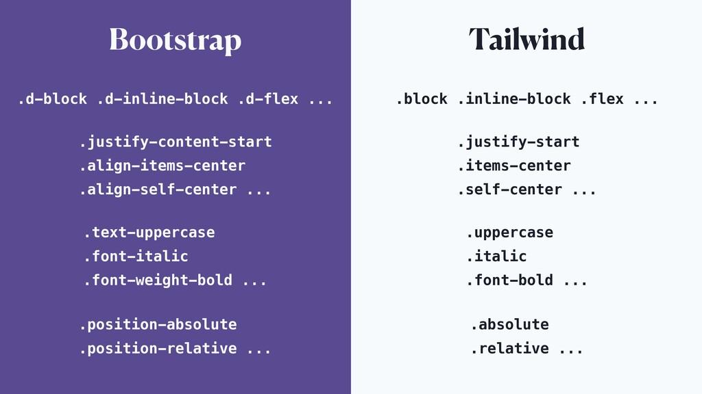 Bootstrap Tailwind .d-block .d-inline-block .d-...