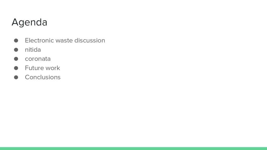 Agenda ● Electronic waste discussion ● nitida ●...