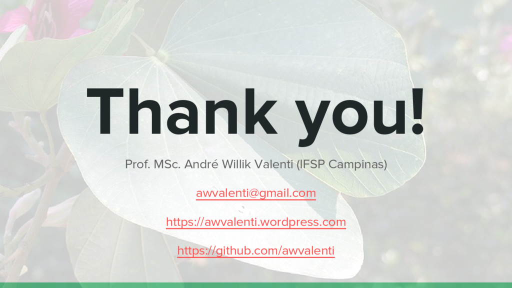 Thank you! Prof. MSc. André Willik Valenti (IFS...