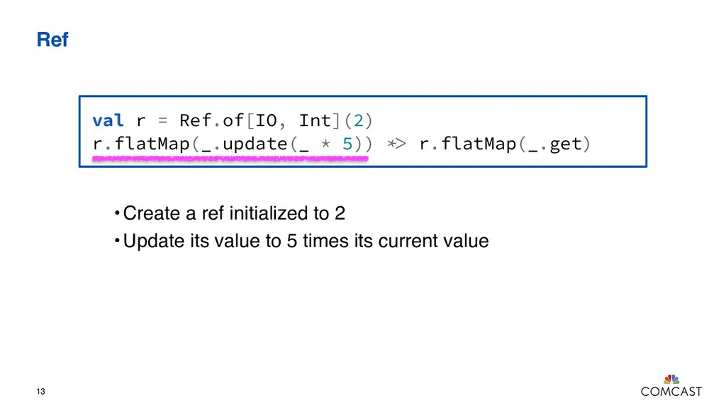 Ref 13 val r = Ref.of[IO, Int](2) r.flatMap(_.u...