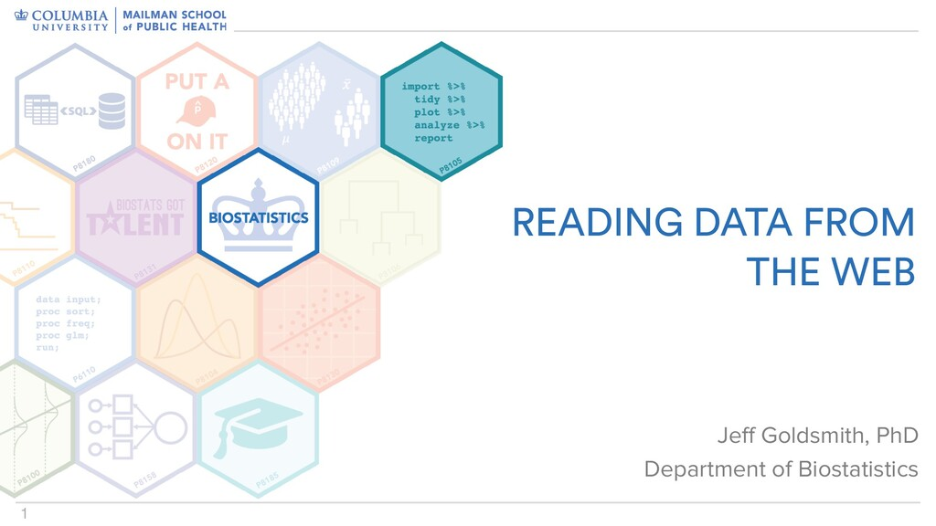 1 READING DATA FROM THE WEB Jeff Goldsmith, PhD...