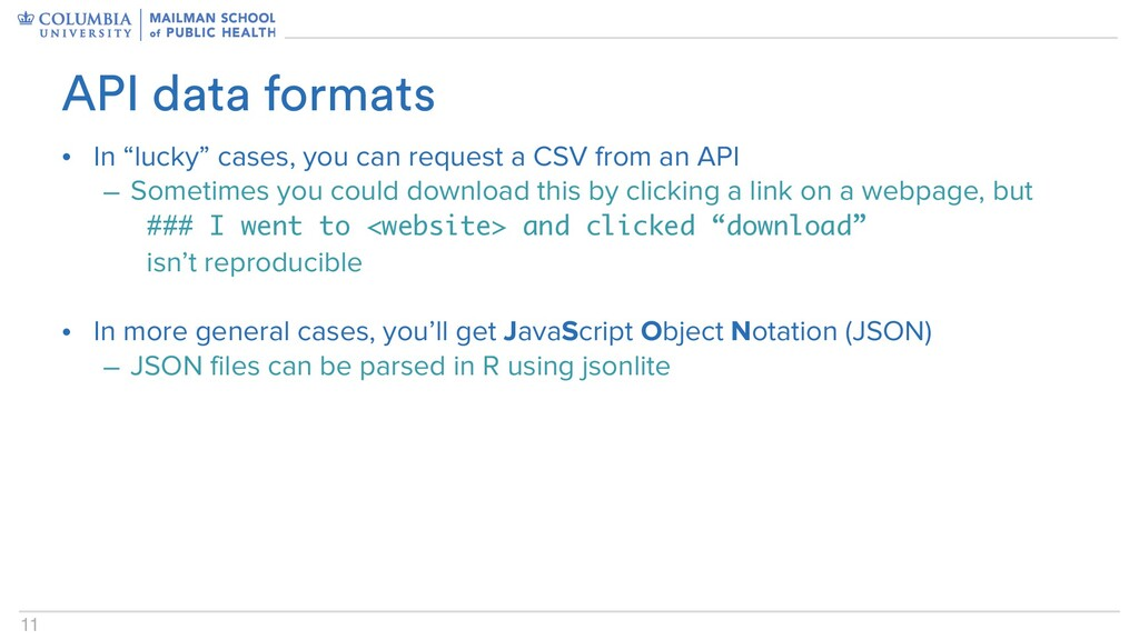 """11 • In """"lucky"""" cases, you can request a CSV fr..."""