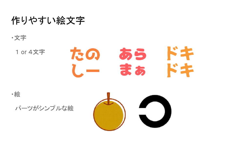 作りやすい絵文字 ・文字  1 or 4文字 ・絵  パーツがシンプルな絵