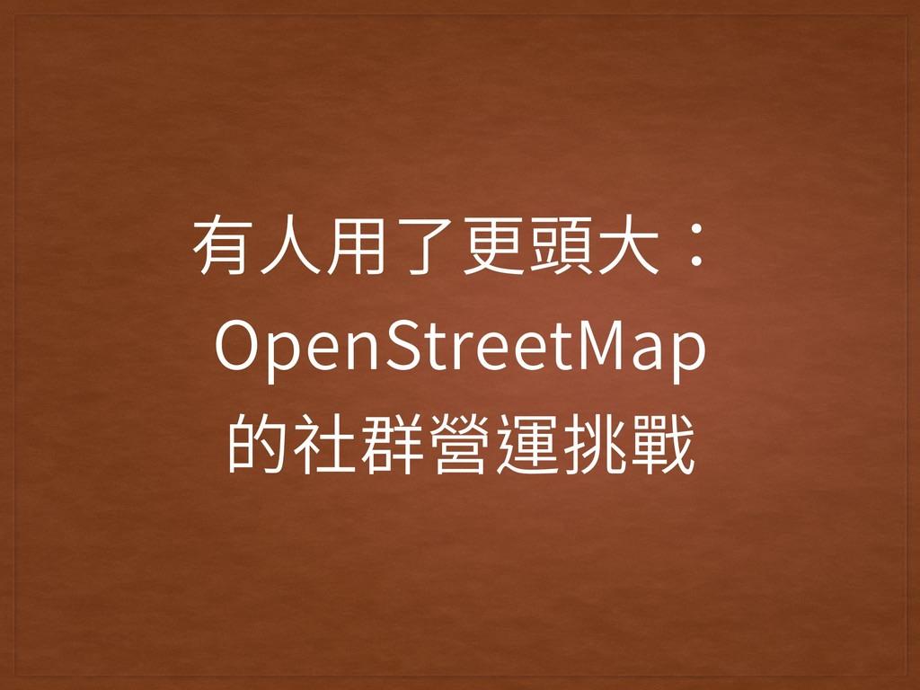 有⼈⽤了更頭⼤: OpenStreetMap  的社群營運挑戰