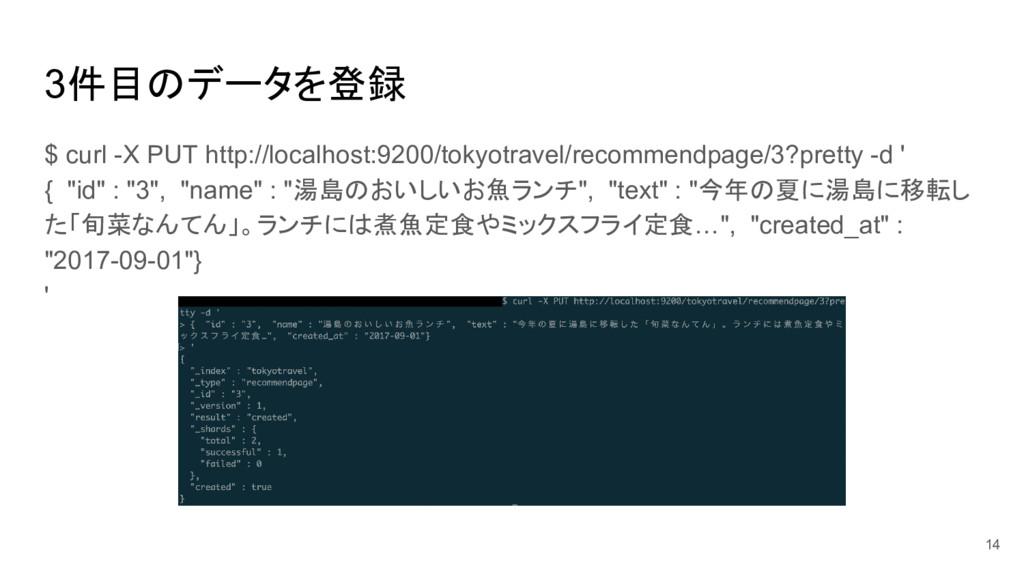 3件目のデータを登録 $ curl -X PUT http://localhost:9200/...