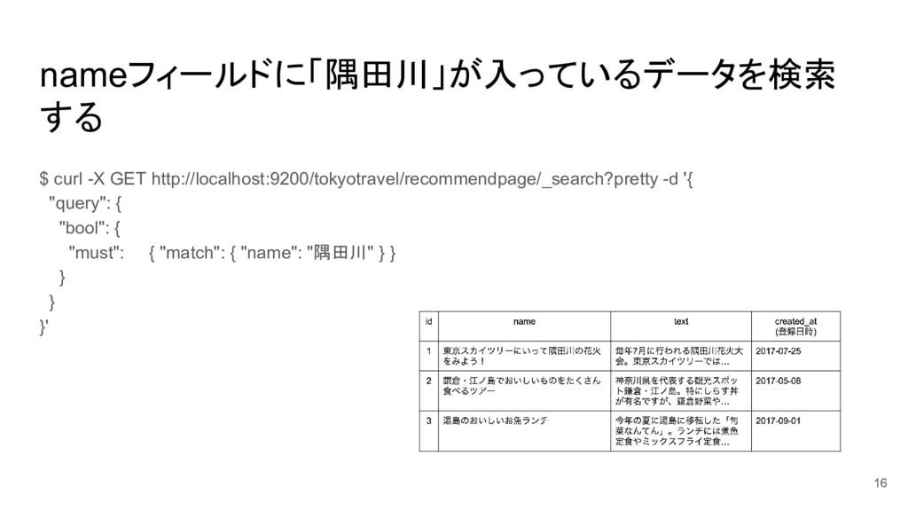 nameフィールドに「隅田川」が入っているデータを検索 する $ curl -X GET ht...