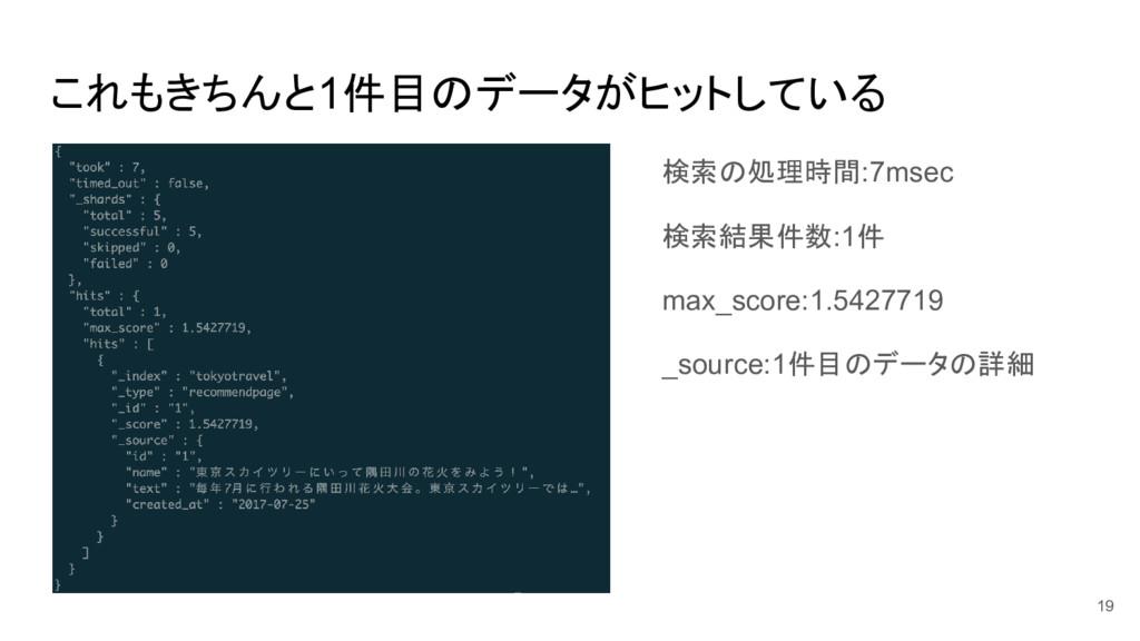 これもきちんと1件目のデータがヒットしている 検索の処理時間:7msec 検索結果件数:1件 ...