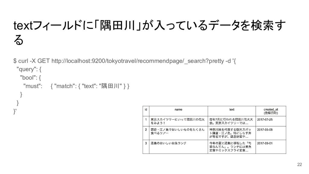 textフィールドに「隅田川」が入っているデータを検索す る $ curl -X GET ht...