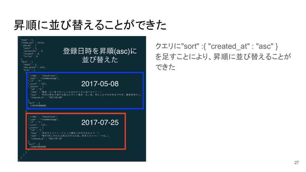 """昇順に並び替えることができた クエリに""""sort"""" :{ """"created_at"""" : """"as..."""