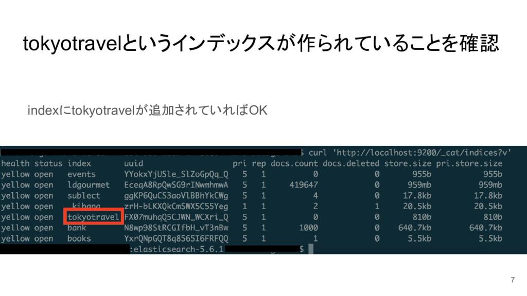 tokyotravelというインデックスが作られていることを確認 7 indexにtokyot...