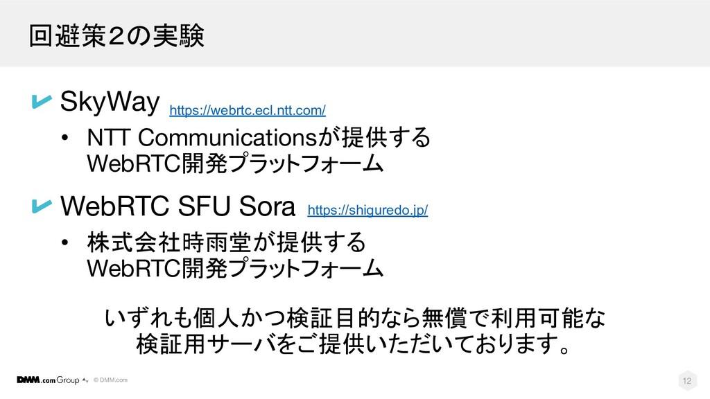 © DMM.com 回避策2の実験 12 SkyWay • NTT Communication...