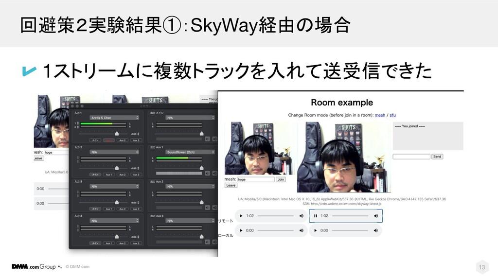 © DMM.com 回避策2実験結果①:SkyWay経由の場合 13 1ストリームに複数トラッ...