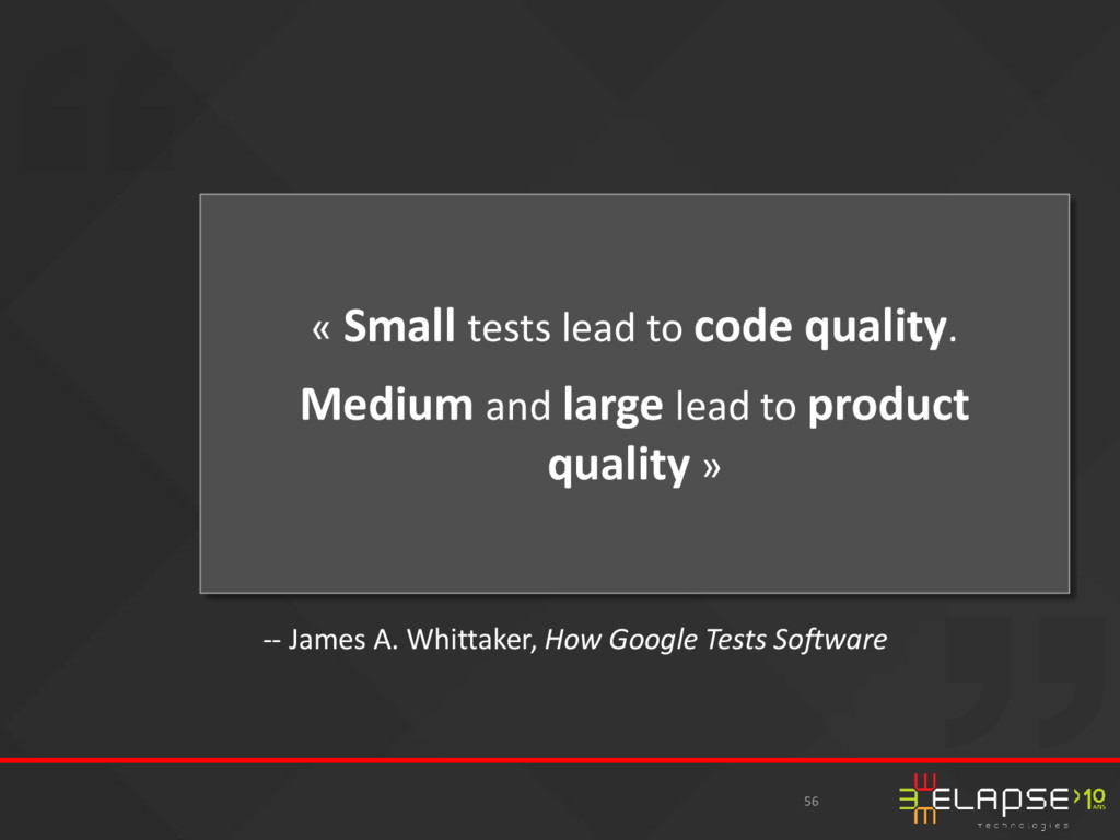 « Small tests lead to code quality. Medium and ...