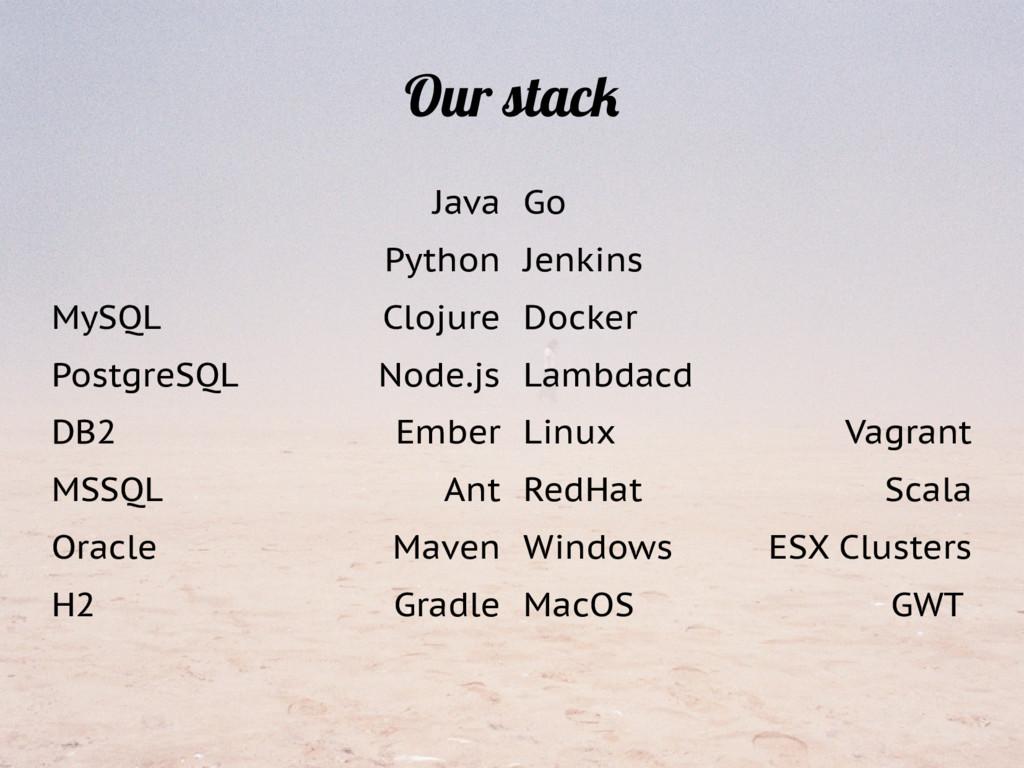 Our stack Java Python Clojure Node.js Ember Ant...
