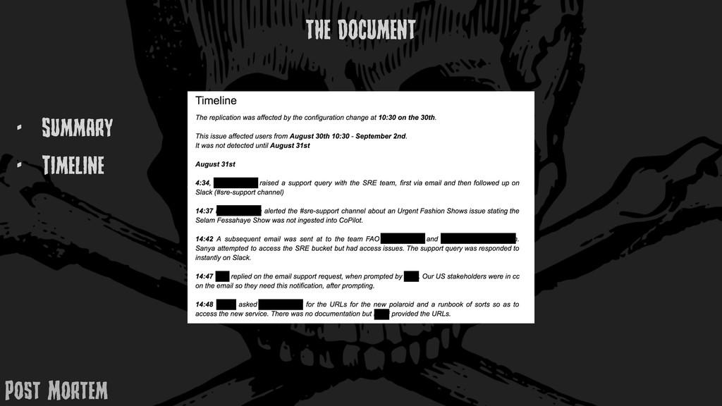 - Summary - TimElinE THE DOCUMENT Post MortEm