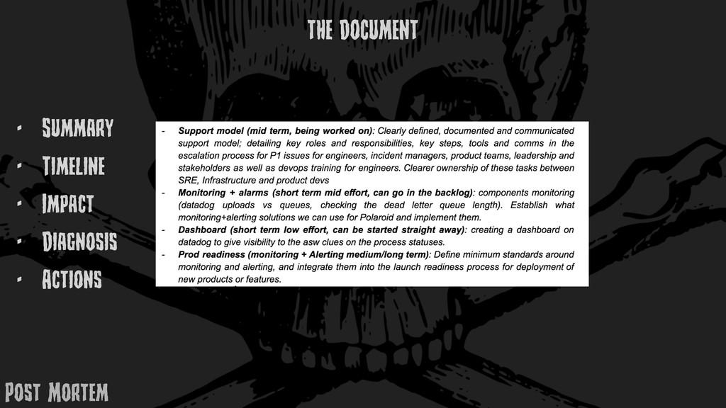 - Summary - TimElinE - Impact - Diagnosis - Act...