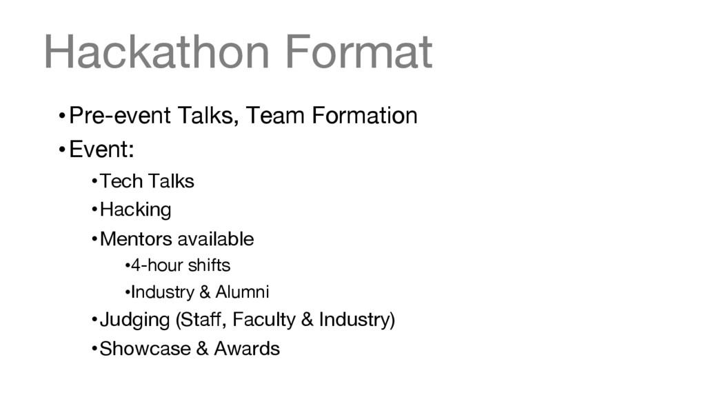 Hackathon Format •Pre-event Talks, Team Forma...
