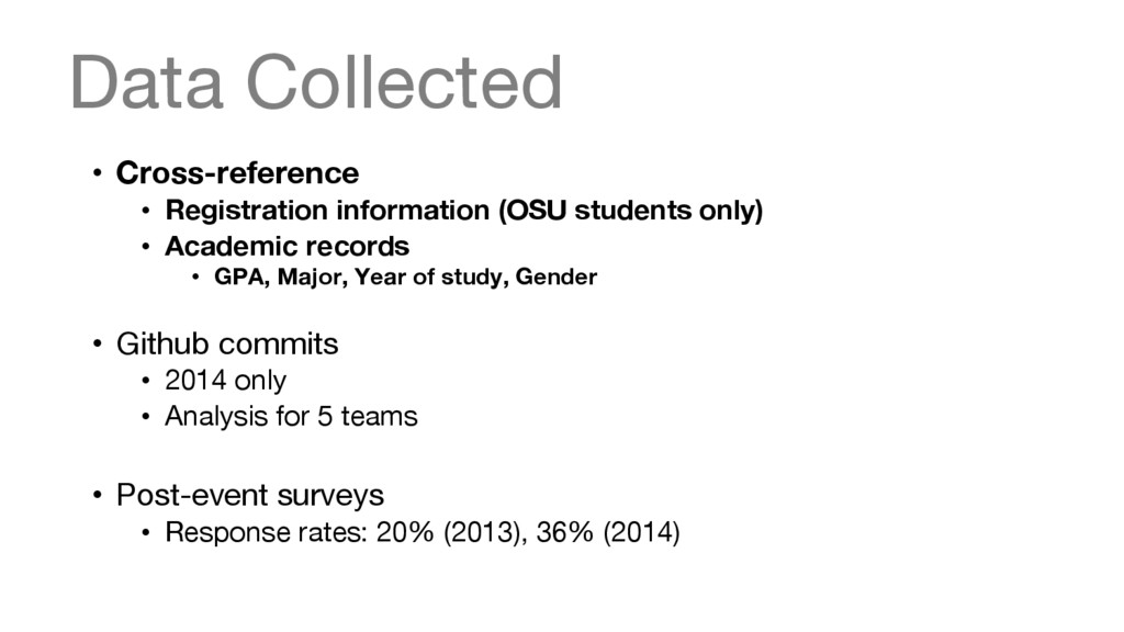 Data Collected • Cross-reference • Registra...