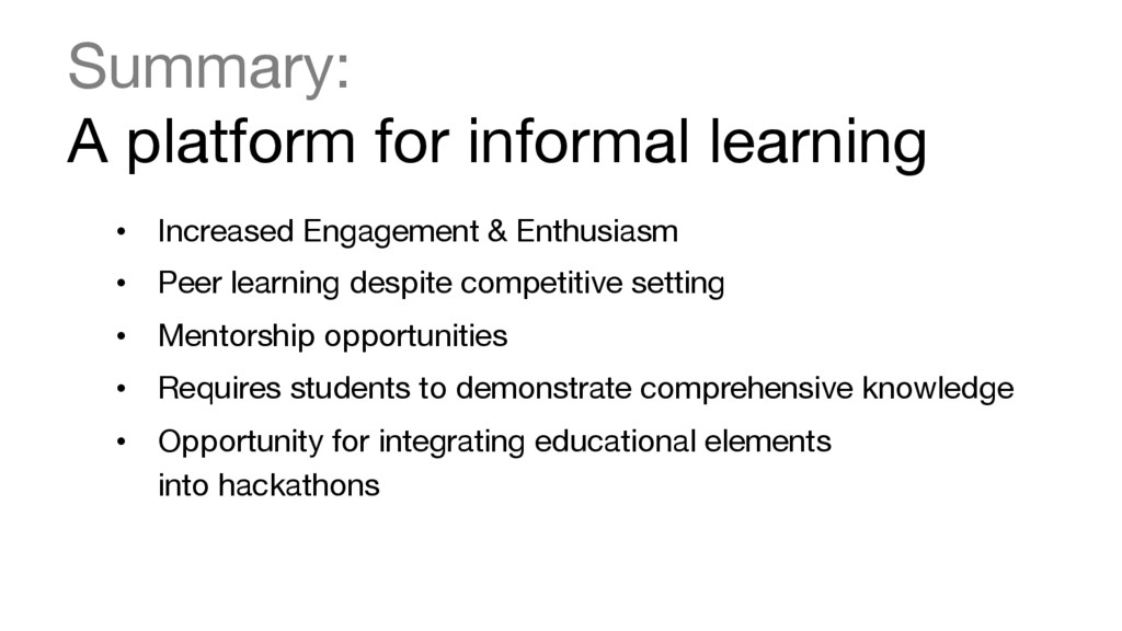 Summary:  A platform for informal learning  ...