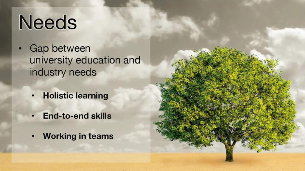 Needs • Gap between  university education an...