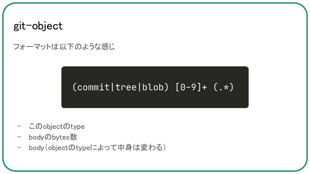 git-object フォーマットは以下のような感じ  - このobjectのtype...