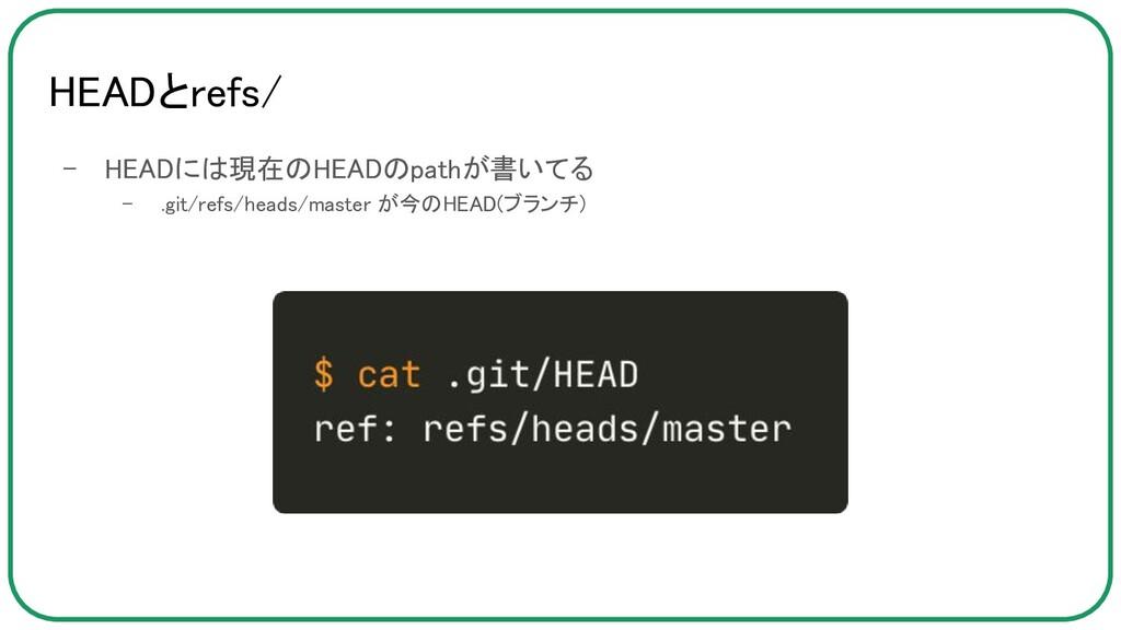 HEADとrefs/ - HEADには現在のHEADのpathが書いてる - .git/r...