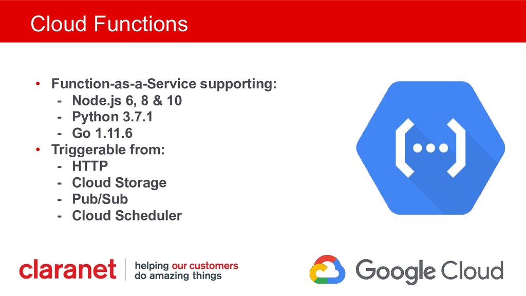 Cloud Functions • Function-as-a-Service support...