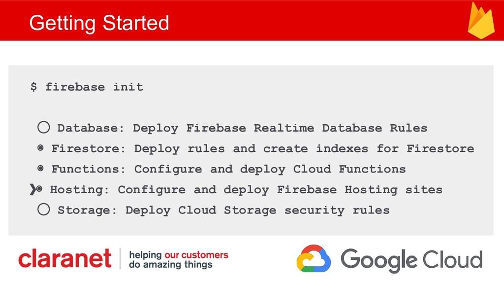Getting Started $ firebase init ◯ Database: Dep...