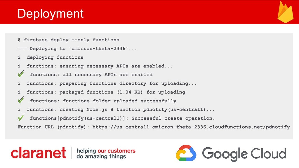 Deployment $ firebase deploy --only functions =...
