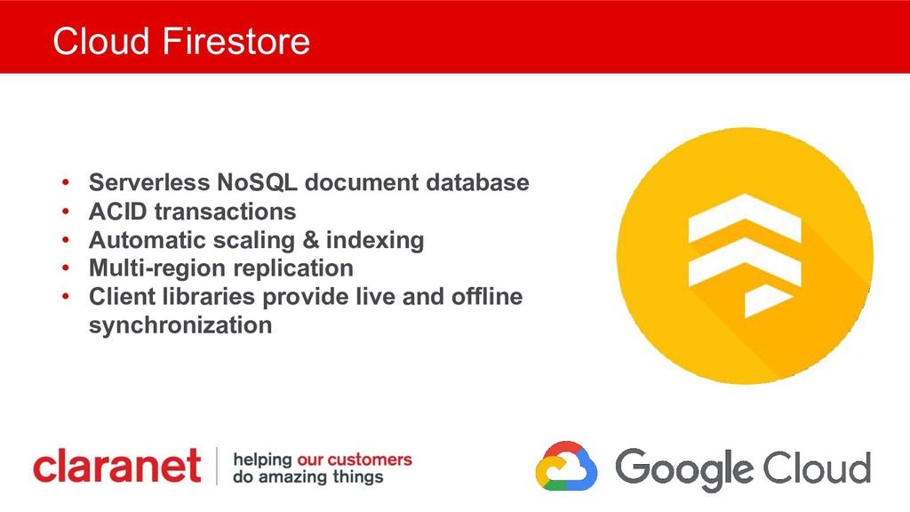 Cloud Firestore • Serverless NoSQL document dat...