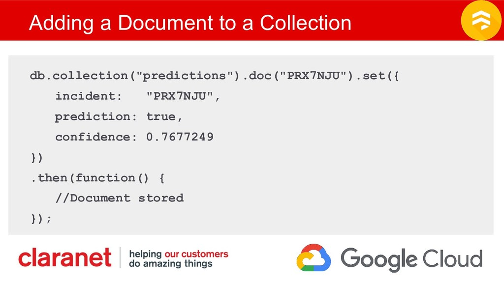 Adding a Document to a Collection db.collection...