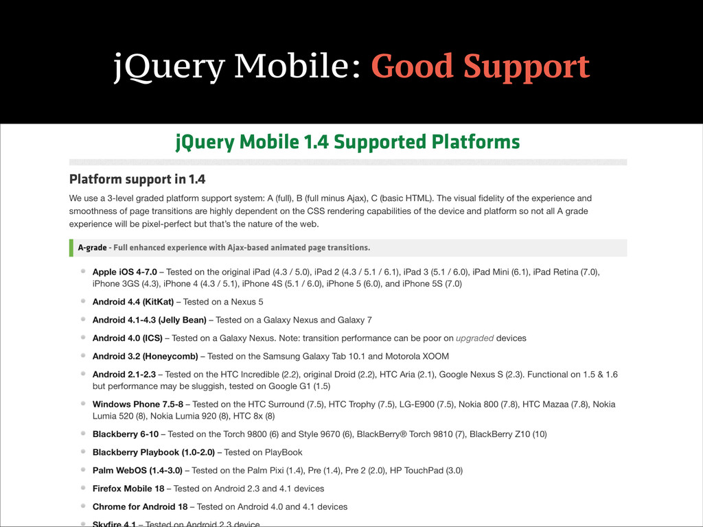 jQuery Mobile: Good Support