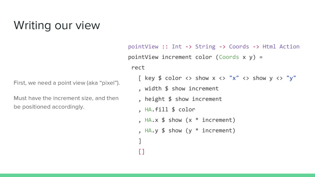 Writing our view pointView :: Int -> String -> ...