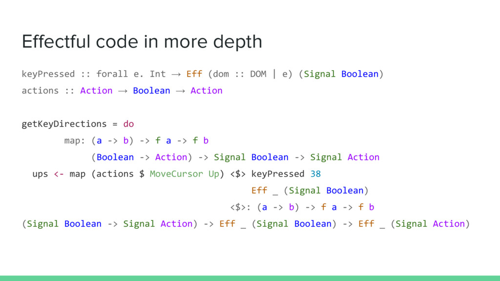 Effectful code in more depth keyPressed :: fora...