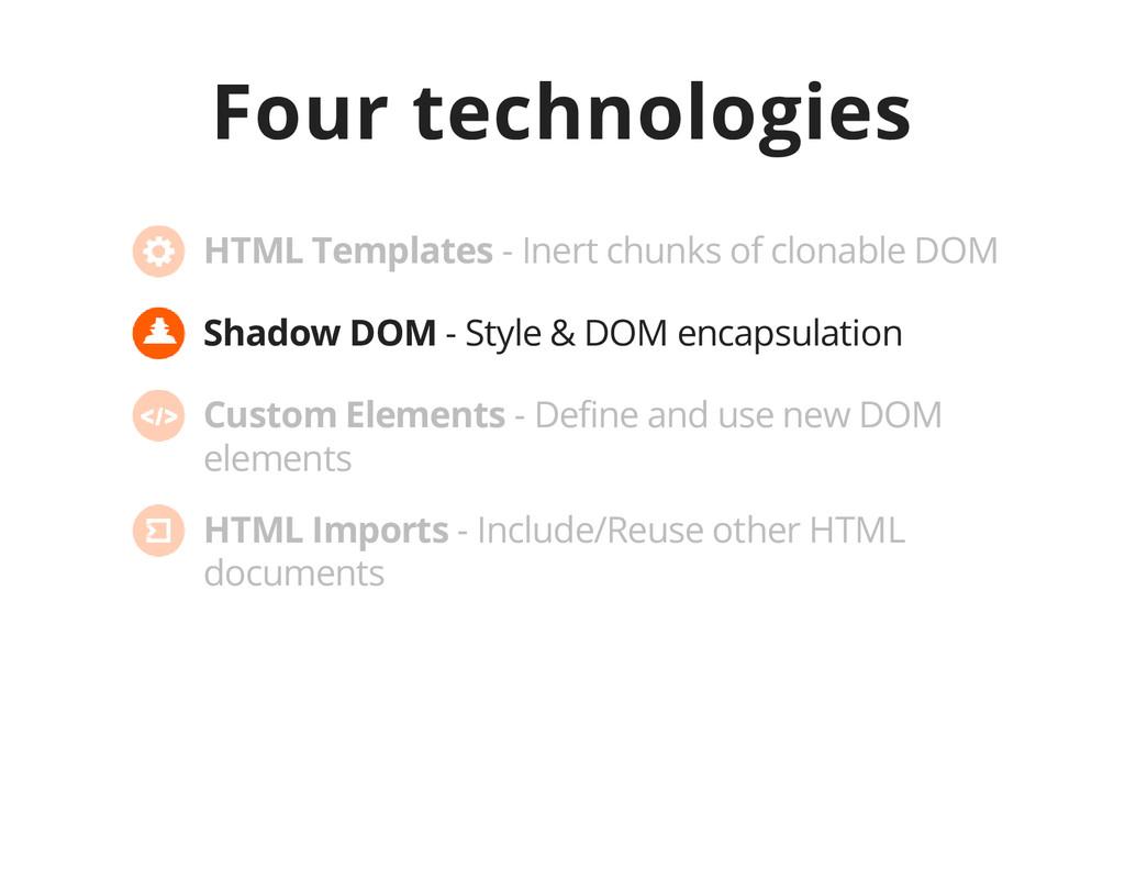 Four technologies Shadow DOM - Style & DOM enca...