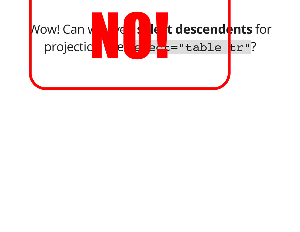 Wow! Can we even select descendents for project...