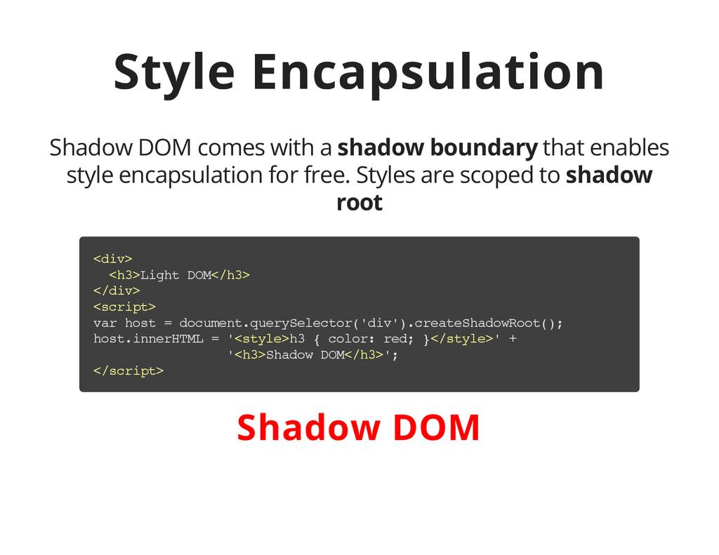 Style Encapsulation Shadow DOM comes with a sha...
