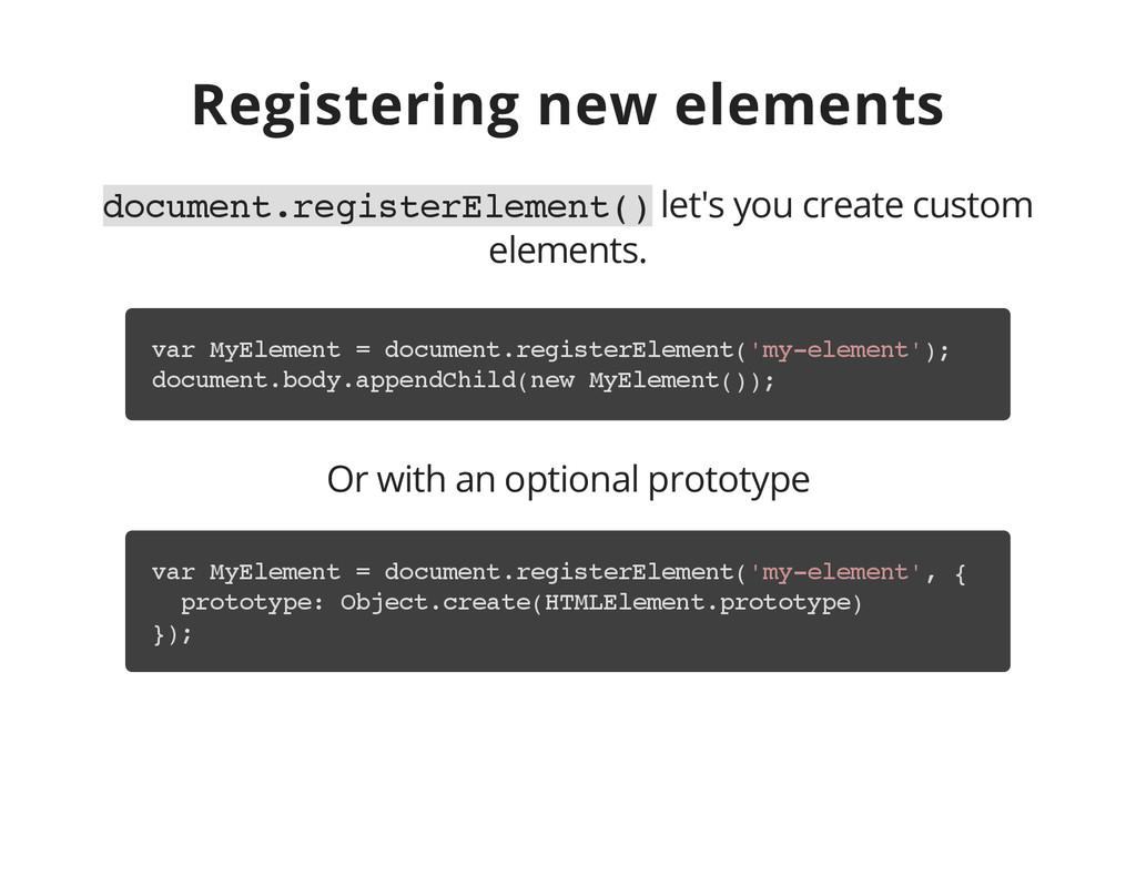 Registering new elements d o c u m e n t . r e ...