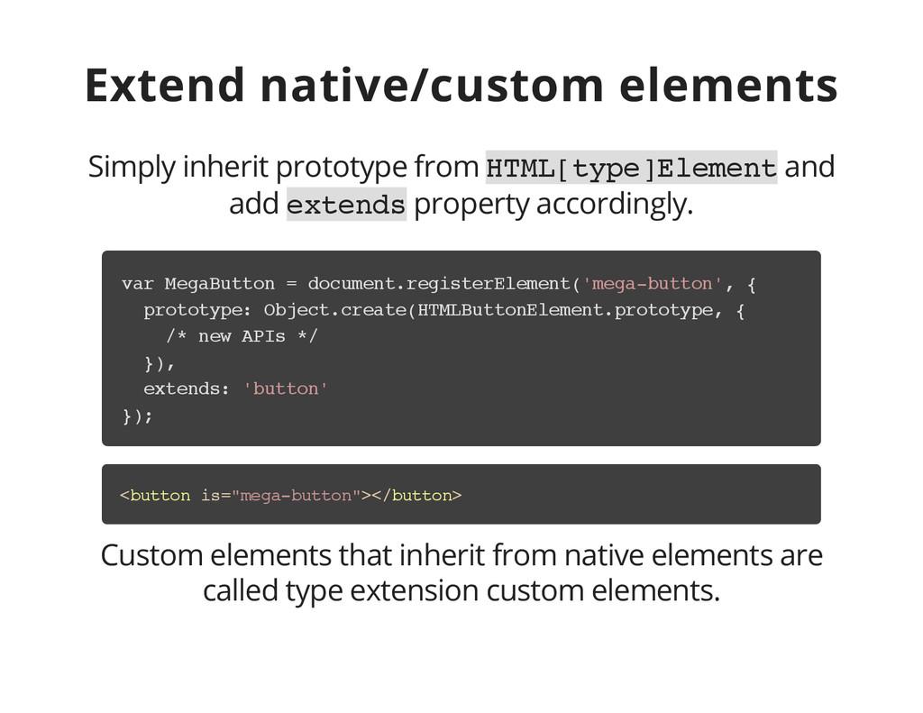 Extend native/custom elements Simply inherit pr...