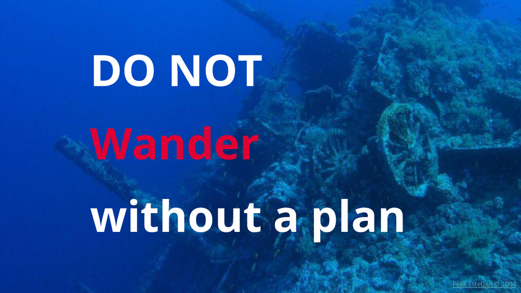 DO NOT Wander without a plan Felix Esteban © 20...