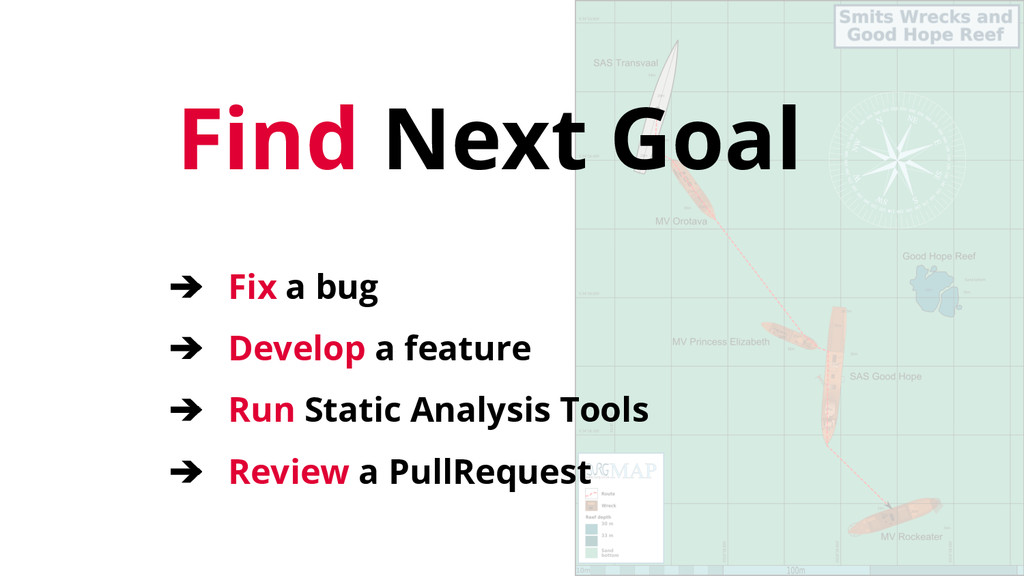 Find Next Goal ➔ Fix a bug ➔ Develop a feature ...