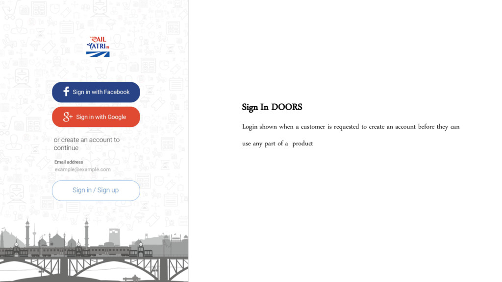Sign In DOORS Login shown when a customer is re...