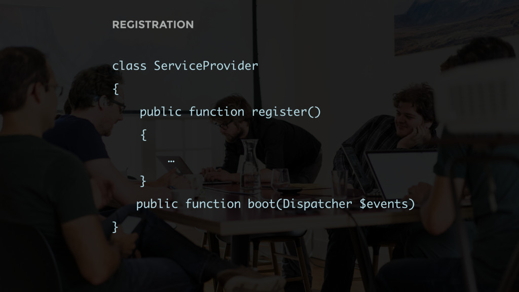 class ServiceProvider { public function registe...