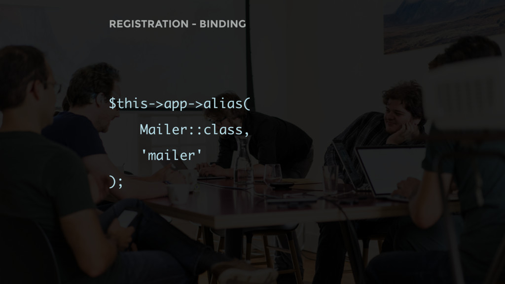 $this->app->alias( Mailer::class, 'mailer' ); R...