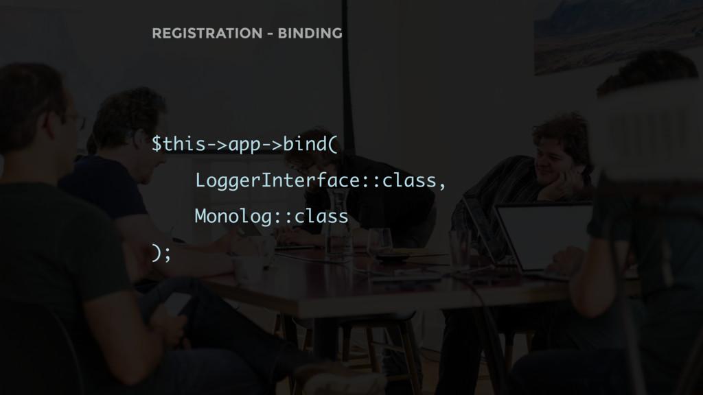 REGISTRATION - BINDING $this->app->bind( Logger...