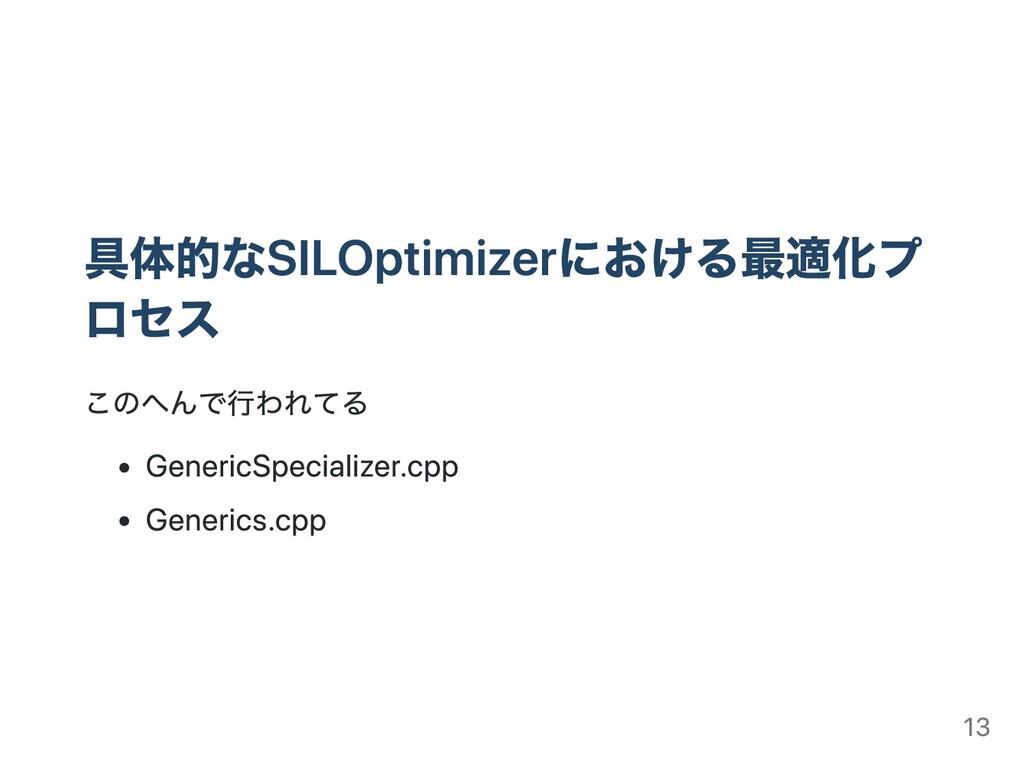 具体的なSILOptimizerにおける最適化プ ロセス このへんで⾏われてる Generic...