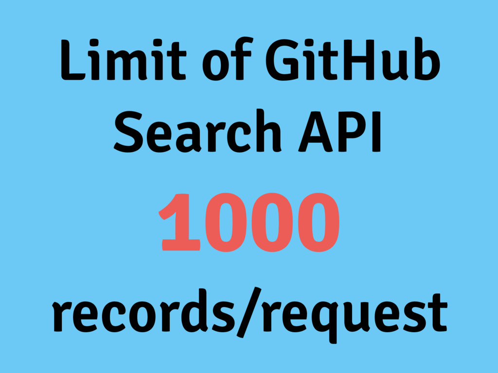 Limit of GitHub Search API 1000 records/request