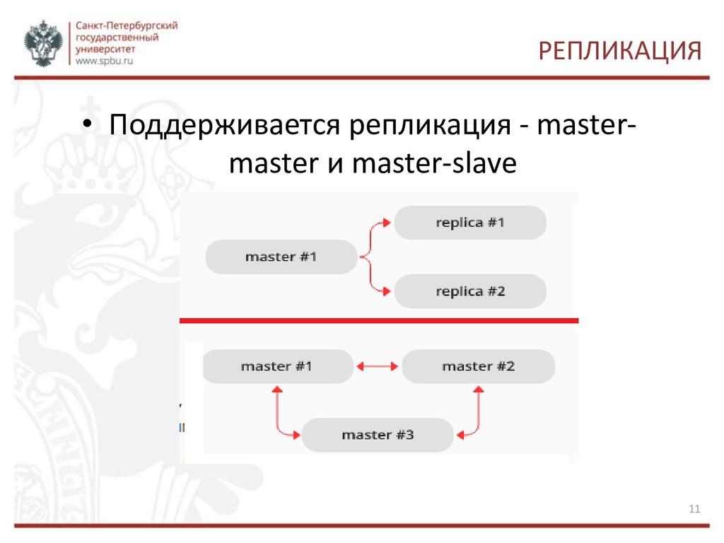РЕПЛИКАЦИЯ • Поддерживается репликация - master...