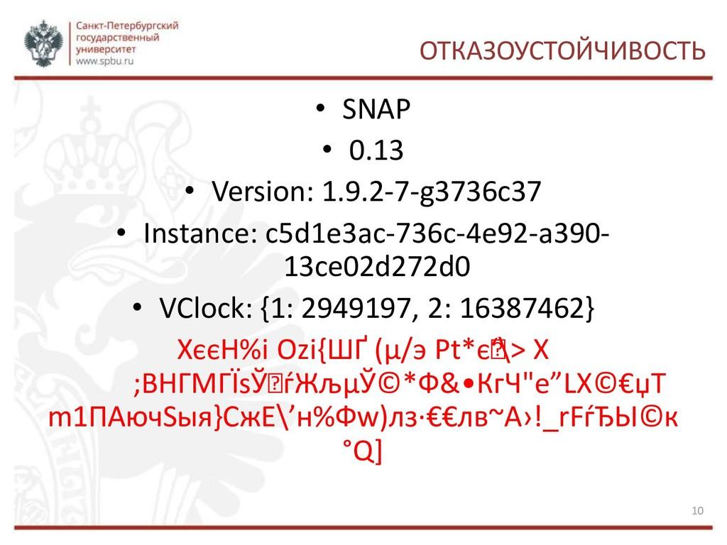 ОТКАЗОУСТОЙЧИВОСТЬ • SNAP • 0.13 • Version: 1.9...