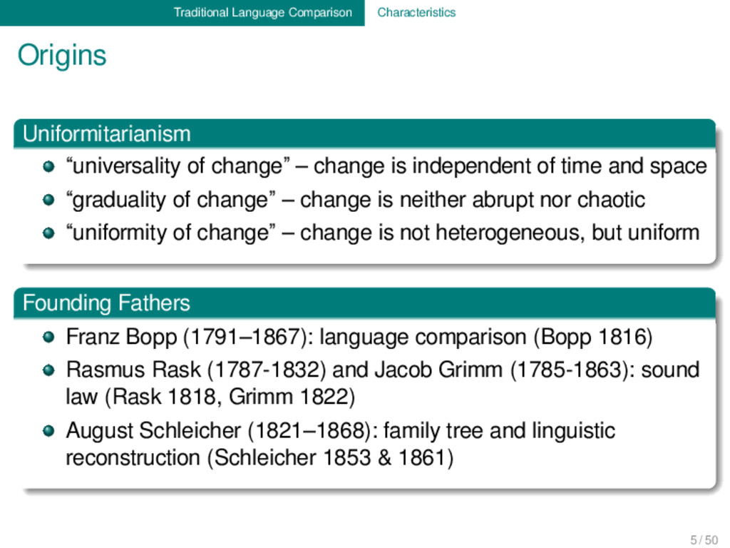 Traditional Language Comparison Characteristics...
